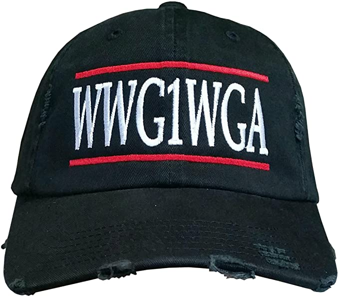 WWG1WGA - Where We Go One We Go All - Unstructured HAT - QAnon Q Anonymous (Red-White WWG1WGA/Black Ripped Distressed)